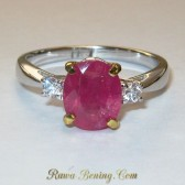 Pinkish Ruby Woman Silver Ring 7.5 US