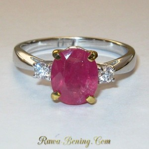 Cincin Pinkish Ruby Woman Sterling Silver 925 ukuran 7.5 US Model Elegan