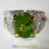 Cincin Silver Peridot Ring 6 US