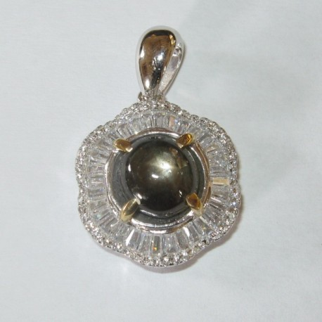 Liontin Silver 925 Model Bunga Batu Black Star Sapphire 4.50 carat