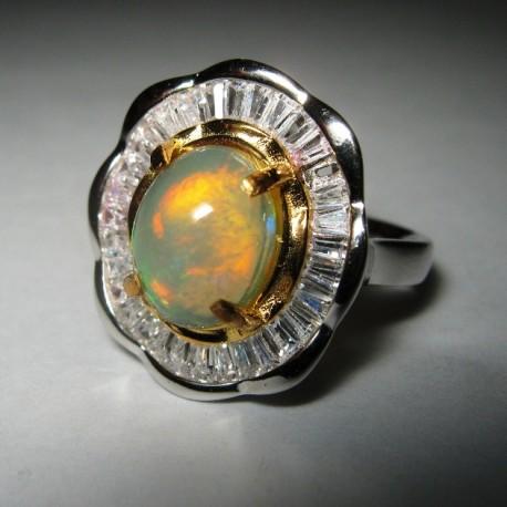 Cincin Silver 925 Rainbow Opal Ring N untuk Wanita Dewasa