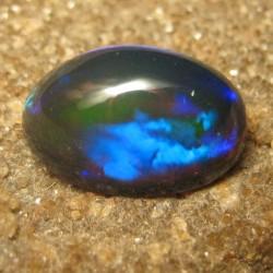 Floral Neon Blue Black Opal 2.65 carat