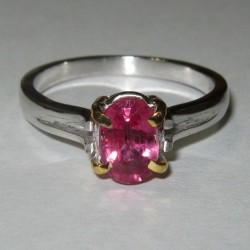 Pinkish Ruby Silver Ring 7.5 US