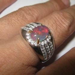 Cincin Black Opal Pria Ring 9.5US