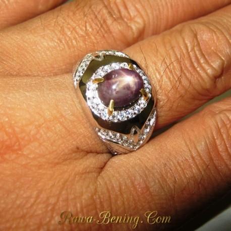 Cincin Pria Batu Mulia Natural Star Ruby Silver Ring 9 US