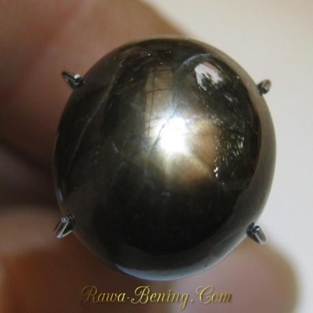 Batu Mulia Natural Oval Cab Black Star Sapphire 11.90 carat