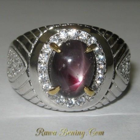 Cincin Ruby Star Ring 9 US Silver untuk Pria