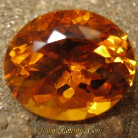 Batu Permata Natural Top Fire Citrine Orangy Yellow Oval 7.69 carat