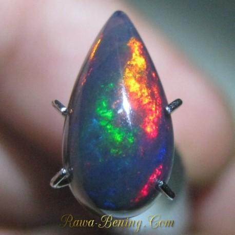 Red Mackarel Pear Black Opal 1.25 carat