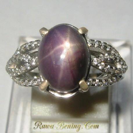 Cincin Wanita Star Ruby Luster Tajam. Silver 925 Ring 5US ~ www.Rawa-Bening.Com