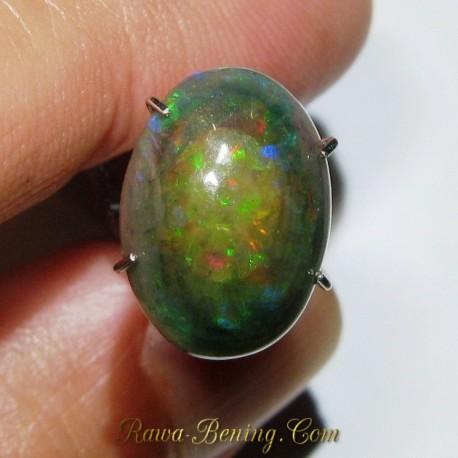 Batu Mulia Black Opal Multi Color 2.40 carat Pola Jarong Bercak Abstrak