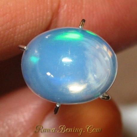 Batu Opal Pelangi Hijau Neon 1.95 carat Bening