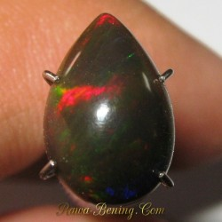 Harga Batu Mulia Natural Black Opal Pear RGB 1.45 carat www.rawa-bening.com