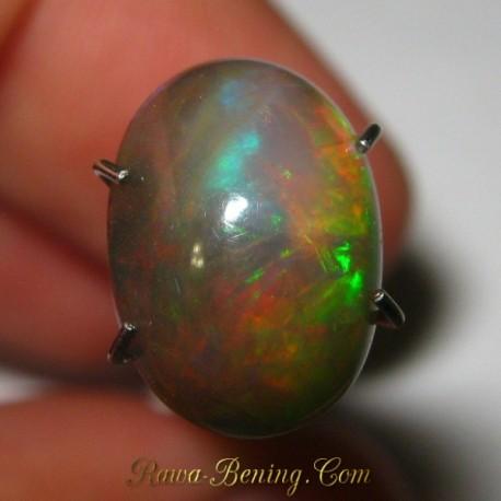Batu Mulia Natural Black Opal Hijau Multi Color 1.80 carat