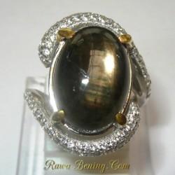 Cincin Silver Black Star Sapphire Ring 5 US7.00 carat
