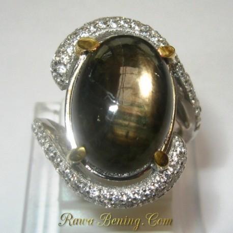 Promo Cincin Silver Black Star Sapphire Ring 5 US 1.00 carat www.rawa-bening.com
