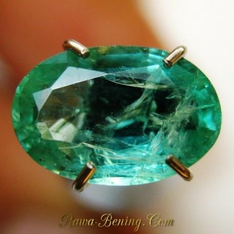 Batu Mulia Natural Zamrud Hijau Sinar Indah 1.01 carat