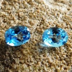 Batu Permata Asli 2 Pcs London Blue Topaz Oval 4.68 Carat