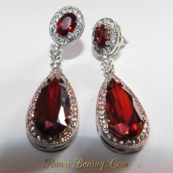 Batu Permata Asli Anting Pesta Gold Filled Merah