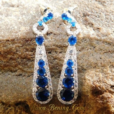 Batu Permata Anting Gold Filled Royal Blue
