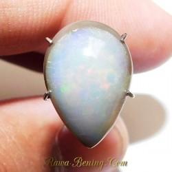 Batu Mulia Natural Milky Black Opal Pear Shape 3.20 Carat