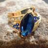 Royal Blue Marquise 18K GF Ring 6.5US