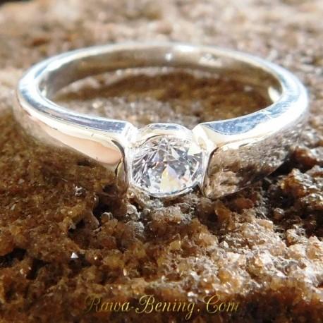 Batu Permata Asli Men Silver 925 CZ Ring 9US 1.00 Carat