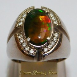 3D Semi Black Opal Silver Ring 9US