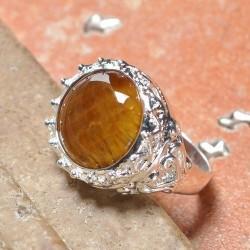 Cincin Lapis Perak Tiger Eye Ring 9.25 US