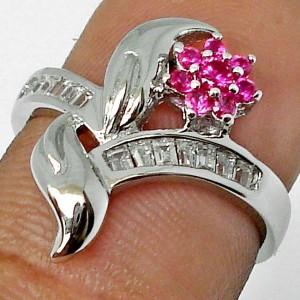 Cincin Silver Pink Ruby Ring 5.5