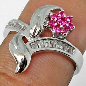 Cincin Silver Pink Ruby Ring 5.5