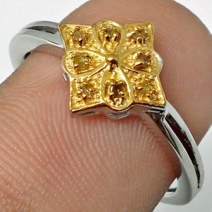 Natural Yellow Diamond Silver 925 Ring 9US