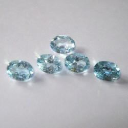 5 Pcs Blue Topaz Oval 4.8 carat