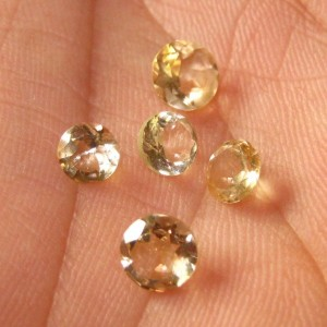 5 Pcs Round Yellow Citrine