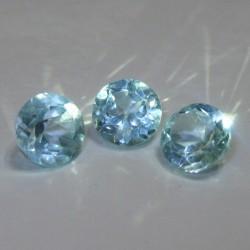 3 Pcs Round Blue Topaz 3.15 cts