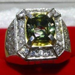 Cincin Natural Hiddenite ring 9US Model Kotak Sederhana