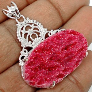 Kalung Silver Liontin Red Ruby Druzy