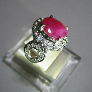 Cincin Pinkish Red Ruby 4.75 carat Ring 5.5US