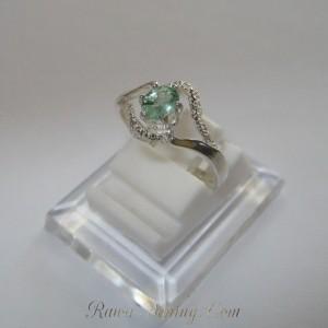 Green Eye Silver Ring 7US