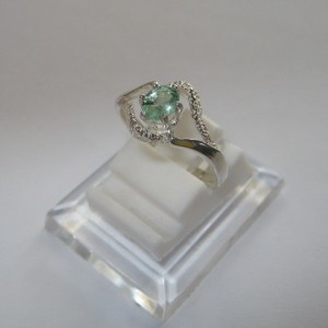Zambian Emerald Silver Ring 7US