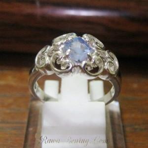 Cincin Wanita Silver Ring 7US Safir Ceylon