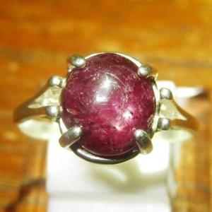 Cincin Silver 925 dengan batu mulia Natural Ruby Star 5.25 carat