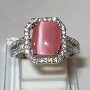 Cincin Perak Cat Eye Pink 6.5US
