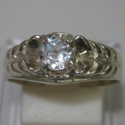 Silver Slash Style Ring 7US White Topaz