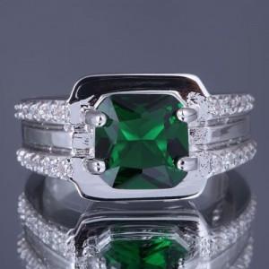 Cincin Gold-Filled Emerald CZ untuk Pria Ring Size 8US
