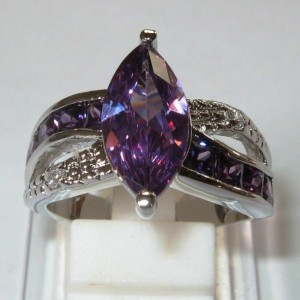 Marquise Amethyst Gold Filled Ring 8US