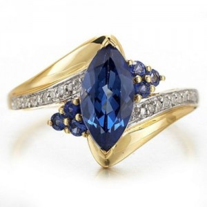Cincin Marquise Sahhpire CZ Ring 7US